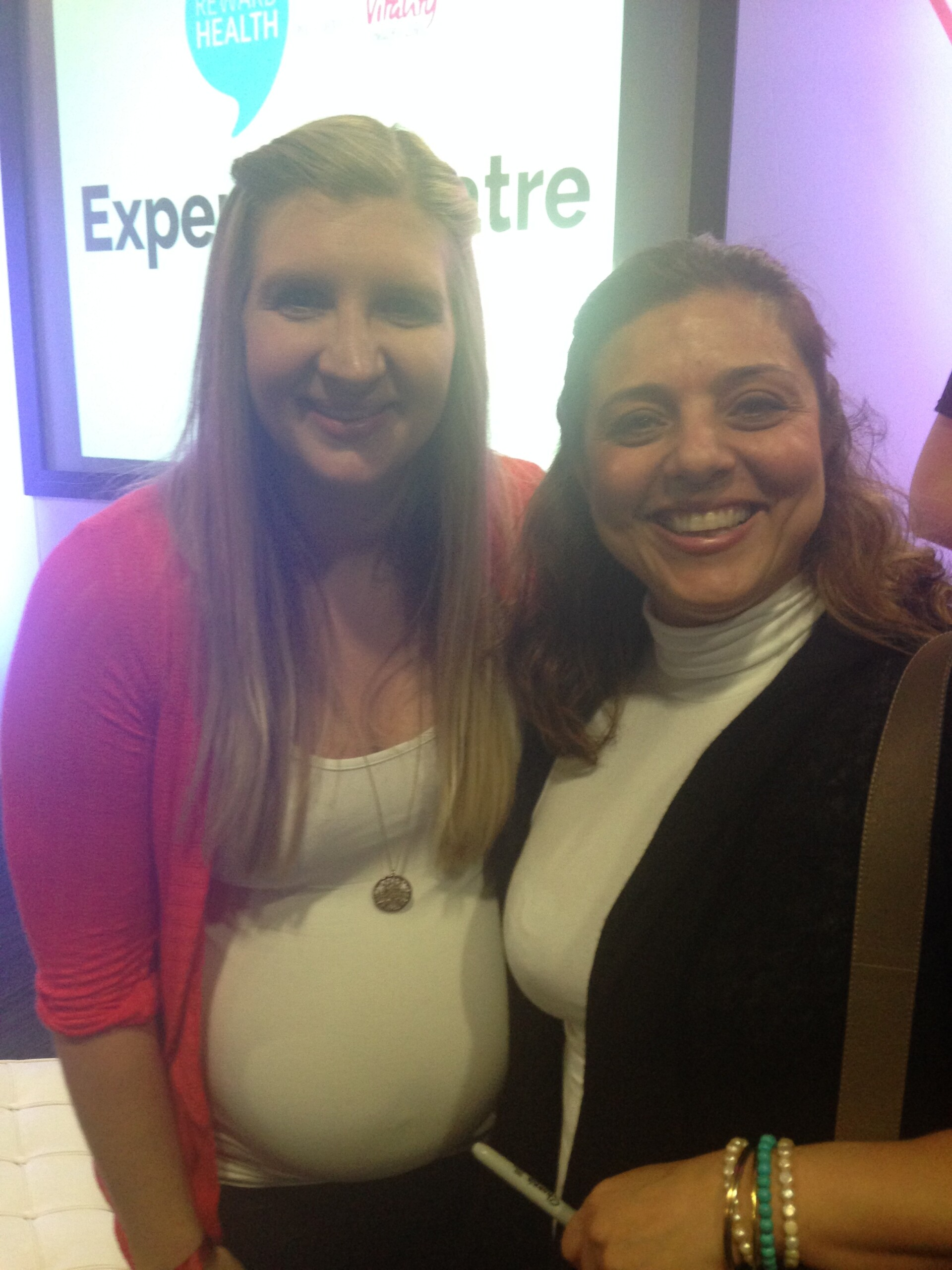 Marjan Moosavi (the founder and owner of Blue Wave Swim school) meeting Rebecca Adlington in May 2015