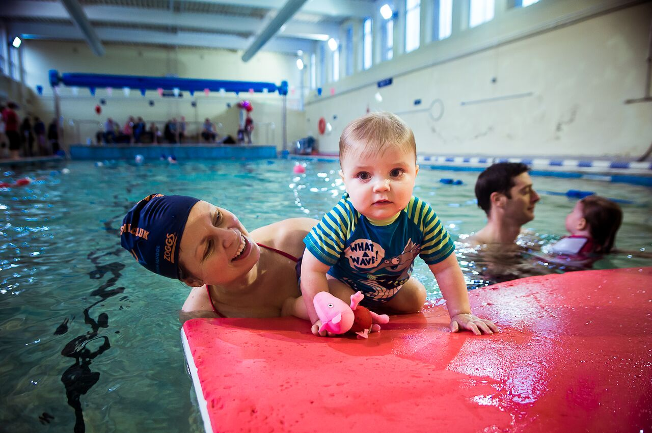 Baby swimming lessons at Wimbledon college, south west London