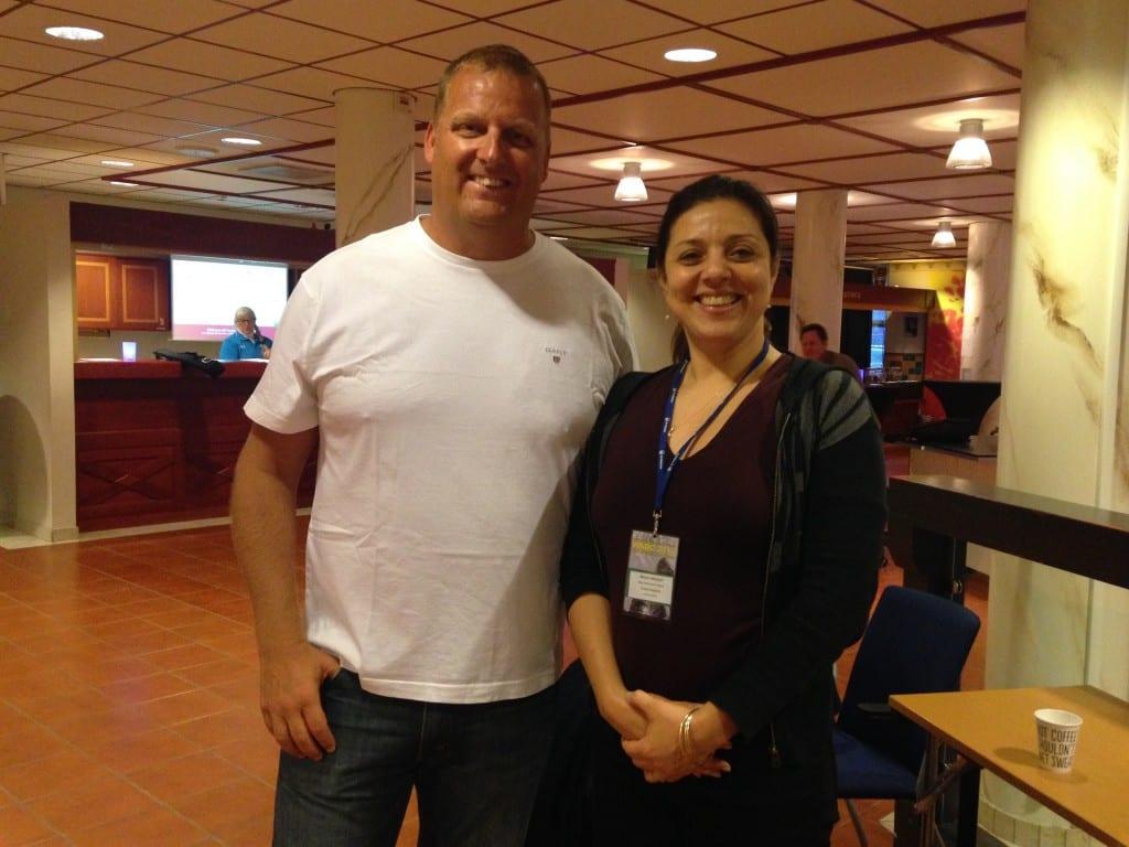 Marjan Moosavi with Jon Rudd, swimming coach of Plymouth-based swim club at 2016 WADC in Sweden