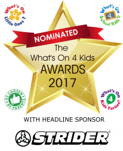 Logo for 'what's on 4 kids' awards 2017. Blue Wave Swim School is a nominated for 2 categories