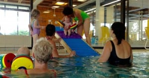 Practising water entry in swimming