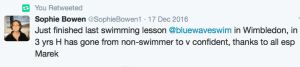Happy parent testimonial for Blue Wave Swim School's swimming lessons in south west London