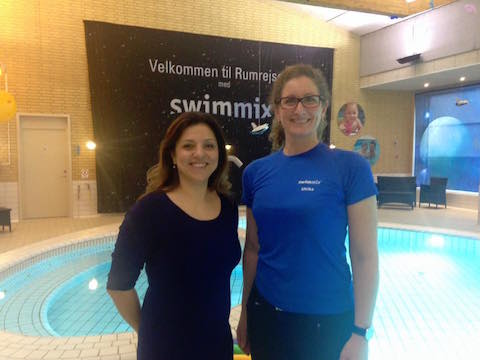 visiting other swim school in Europe. With Ulrika Faerch, founder of Swimmix in Denmark.