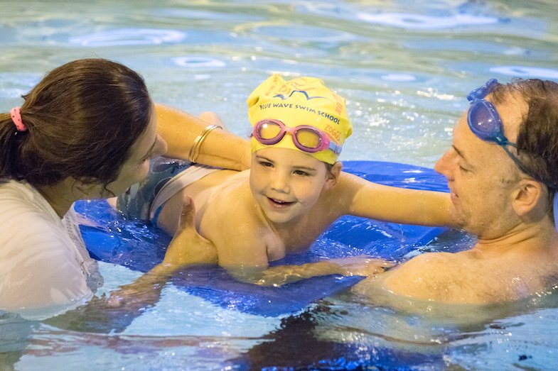 Parent and toddler swimming lessons at Blue Wave Swim school in London (U.K)