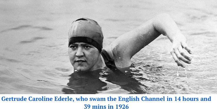 Gertrude Ederle's photo. the first female swimmer to swim English channel
