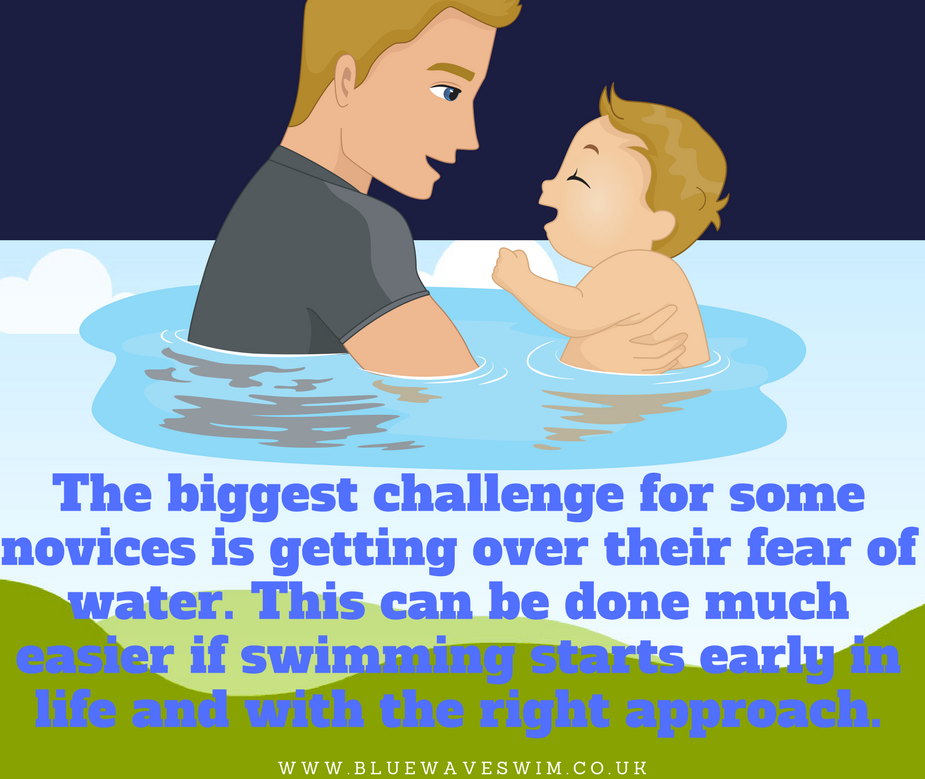 novice is getting over fear of water with parental support.