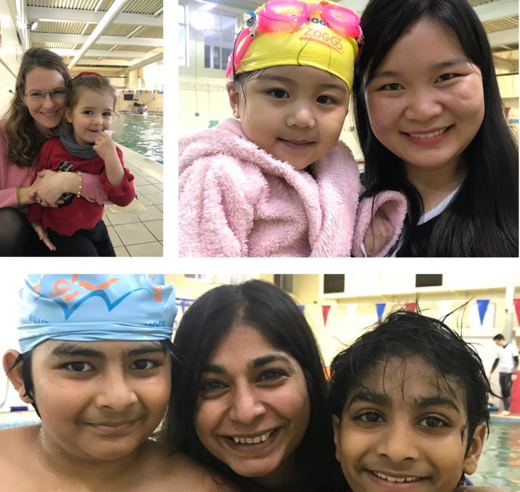 Mothers and their kids at Blue Wave Swim School