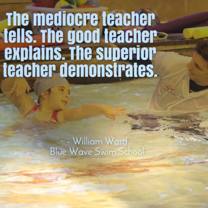 swimming teacher builds rapport with a learner