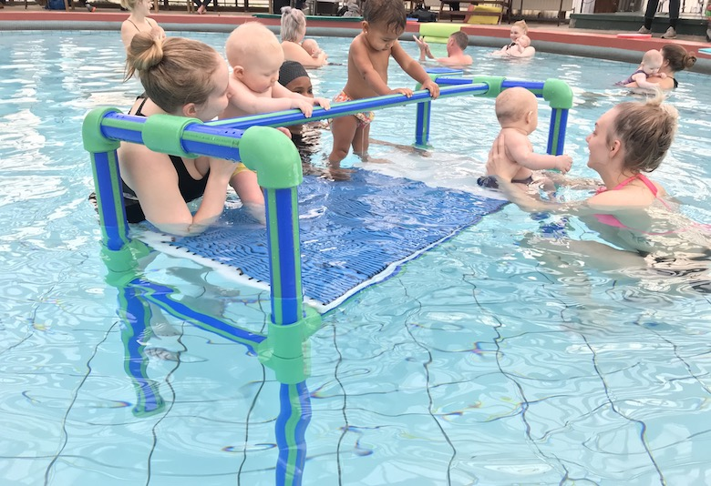 baby swimming lesson in Iceland 2018