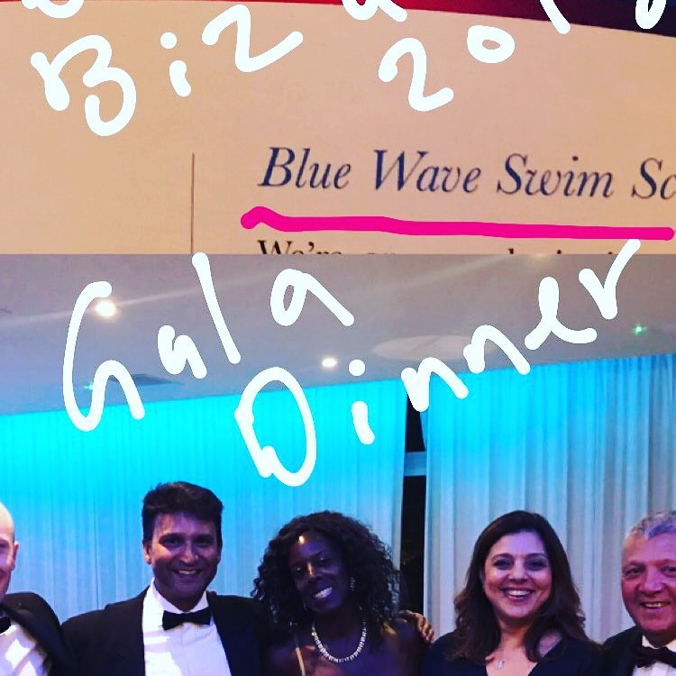 Marjan Moosavi founder of Blue Wave Swim School at the gala dinner in 2018 for the best business in Marketing and Socialmedia in Wandsworth borough in London