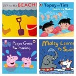 selection of swimming books for toddlers and pre-schoolers