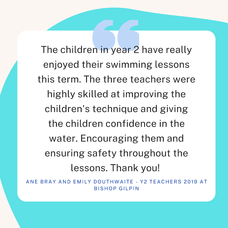 testimonial from Bishop Gilpin School in Wimbledon about school swimming services from Blue Wave Swim School