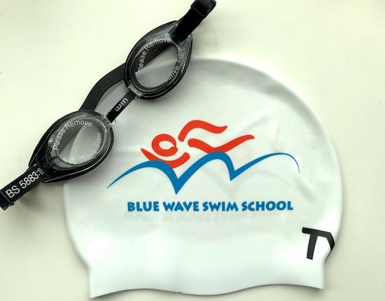Blue Wave Swim school's swim cap