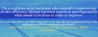 customer testimonial from Google Page of Blue Wave Swim School for adult swimming lessons